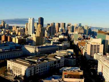 Toxic smoke, visible from Market Street in San Francisco, is blown east, away from the city, and toward the communities of Richmond and San Pablo after the Chevron refinery exploded in 2012.